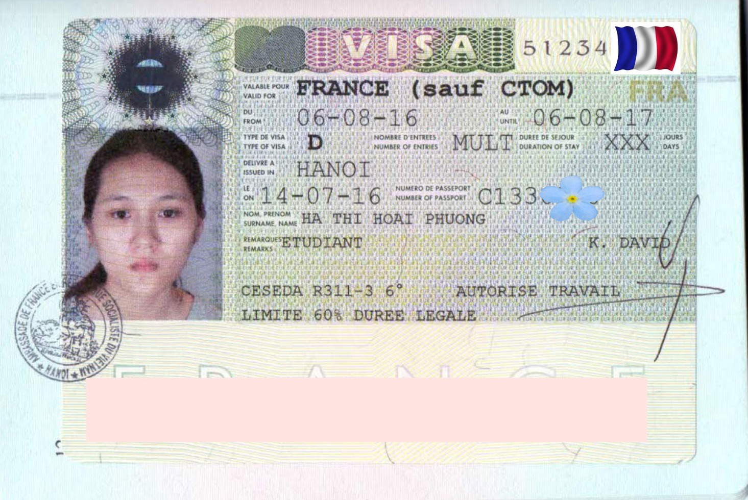 Chúc mừng bạn Hà Thị Hoài Phương nhận được visa Du học Pháp