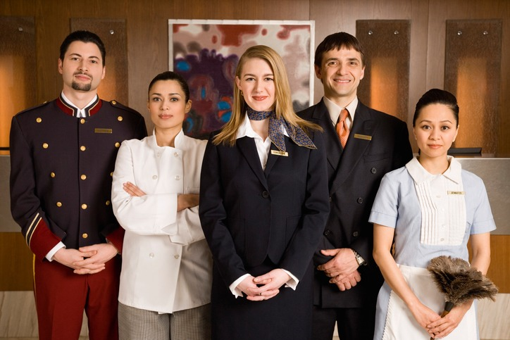 Portrait of serious hotel staff