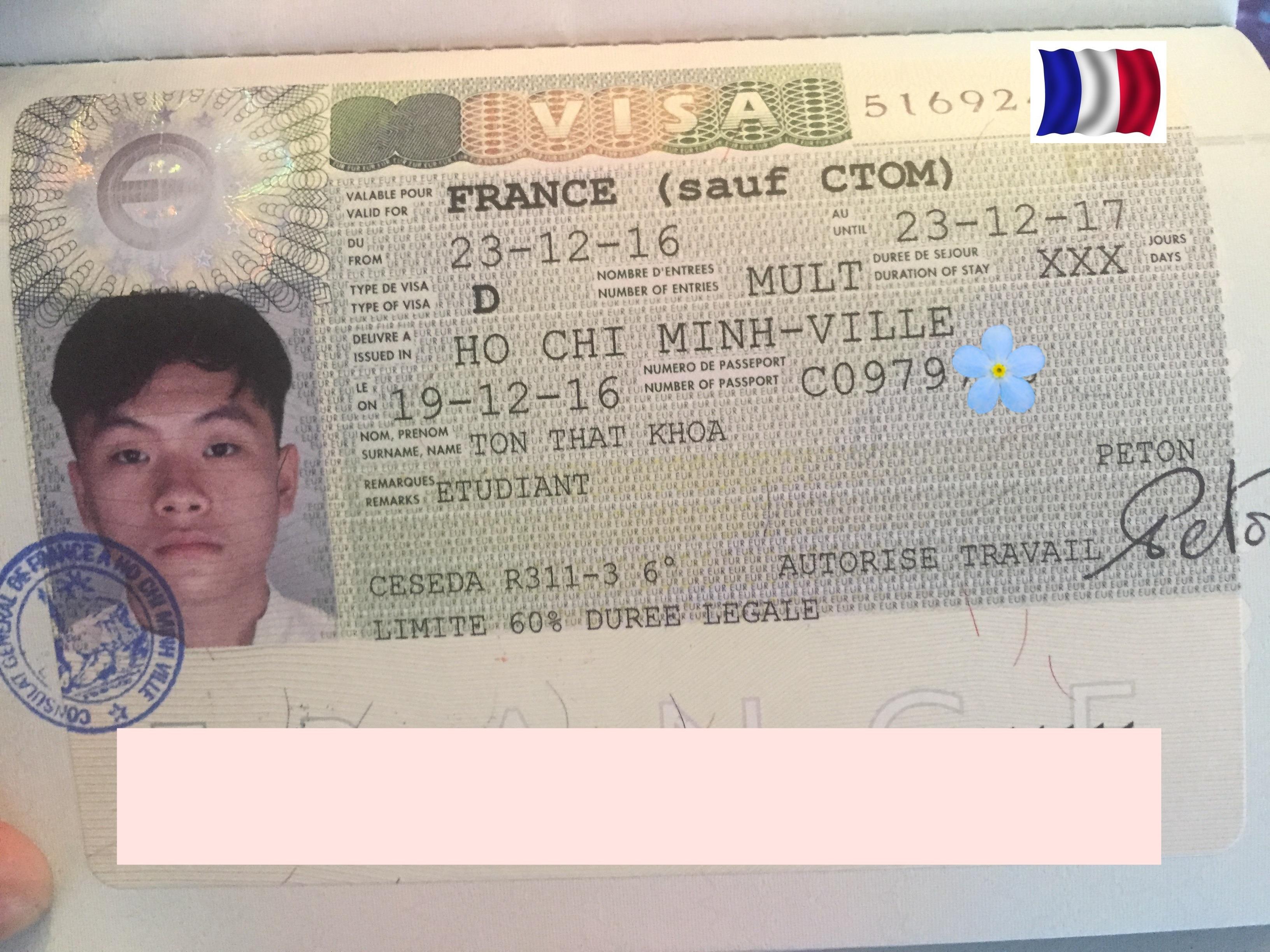Chúc mừng bạn Tôn Thất Khoa nhận được visa du học Pháp